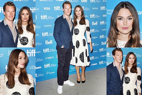 9 Septembre 2014 :  Keira était présente à la conférence de presse TIFF du Festival. Elle portait une robe Dolce & Gabbana. Un shooting photo a été réalisé pour l'occasion. De plus un cocktail a été organisé.