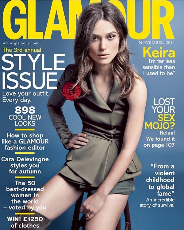 30 septembre 2014 :  Keira fait la couverture du magazine Glamour UK du mois de novembre ! Ce shooting photo a été réalisé par Karen Collins. Je vous ai mis des passages de l'interview présente dans ce magazine.