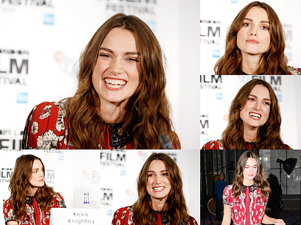 8 Octobre 2014 :  Dans l'après midi Keira était à la conférence de presse du film puis elle a posé pour le photocall. Elle portait aussi une robe Valentino.