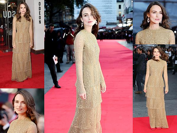 8 Octobre 2014 :  Keira était présente à l'avant première du film The Imitation Game au Festival de Londres. Elle portait une robe Valentino. Keira a posé avec son partenaire : Benedict Cumberbatch  !