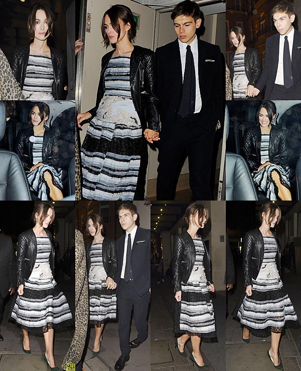 11 Octobre 2014 :  C'est avec une robe Chanel que Keira s'est rendu à un repas organisé par Harper's Bazaar en l'honneur du film The Imitation Game.