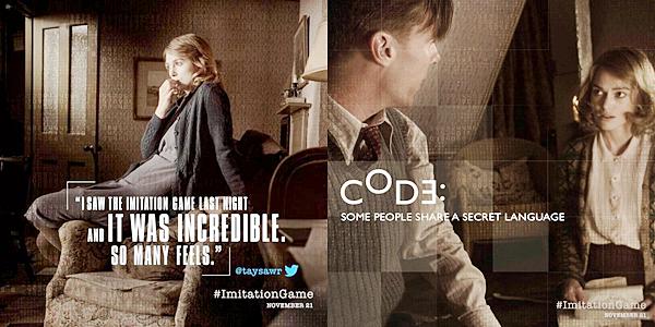 18 Octobre 2014 :  Trois nouveaux stills de The Imitation Game sont disponibles ! Un petit passage du film a été mis sur la toile. Vous pouvez le voir dans la catégorie Infos de l'article.