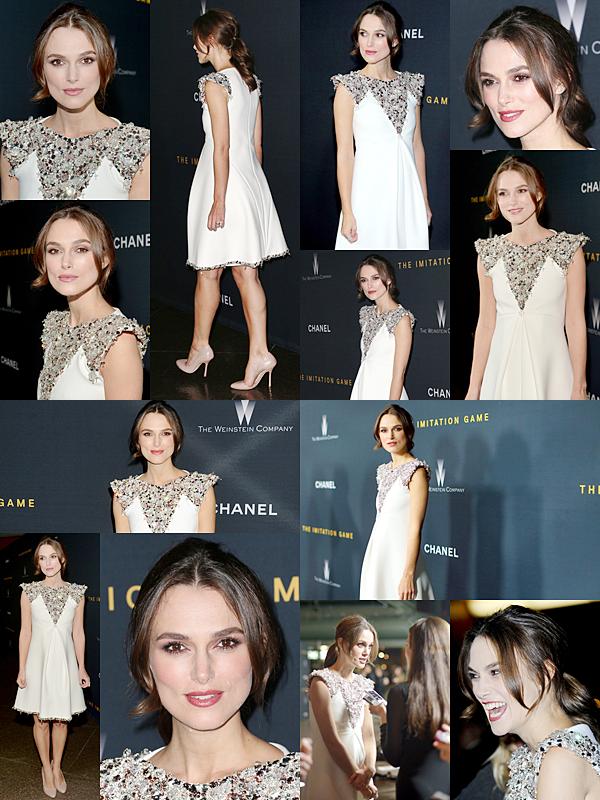 10 Novembre 2014 :  Keira était à la projection du film The Imitation Game organisé par Chanel ! Elle portait une robe Chanel, évidemment :)