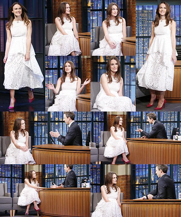19 Novembre 2014 :  Toujours pour la promotion de The Imitation Game, Keira a été interviewée par l'animateur Seth Meyers pour Late Night with Seth Meyers. Elle portait une robe signée Erdem.