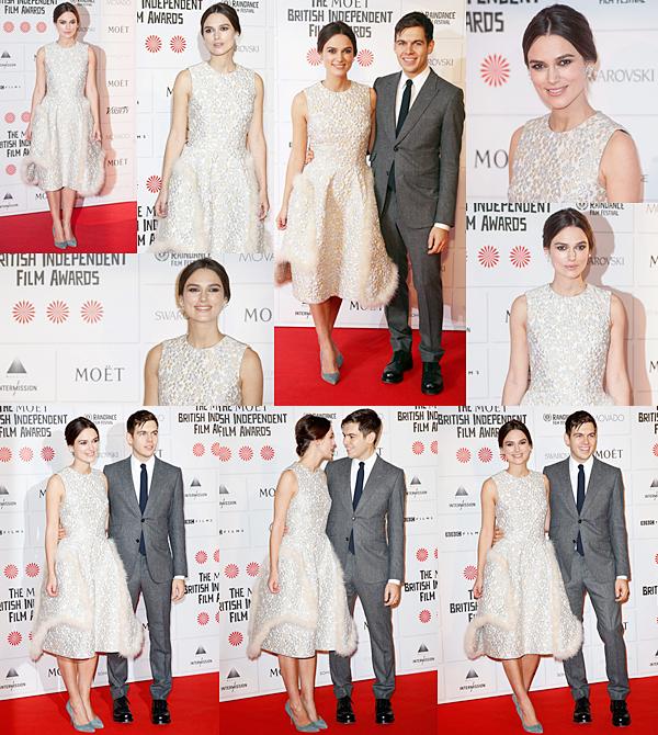 7 Décembre 2014 :   Keira et James étaient présents au Moet British Independent Film Awards à Londres. Elle portait au robe signée Simone Rocha. Elle n'a malheureusement pas gagné le prix de la meilleure actrice. Le prix a été attribué à Gugu Mbatha-Raw. L'actrice a remit le prix Variety à Benedict Cumberbatch et a été aperçue avec Alicia Vikander sa co-star dans Anna Karenine et Emma Thompson sa co-star dans Love Actually.