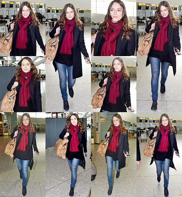 8 Janvier 2015:  Keira a été aperçue à l'aéroport de Londres pour se rendant aux Etats Unis.