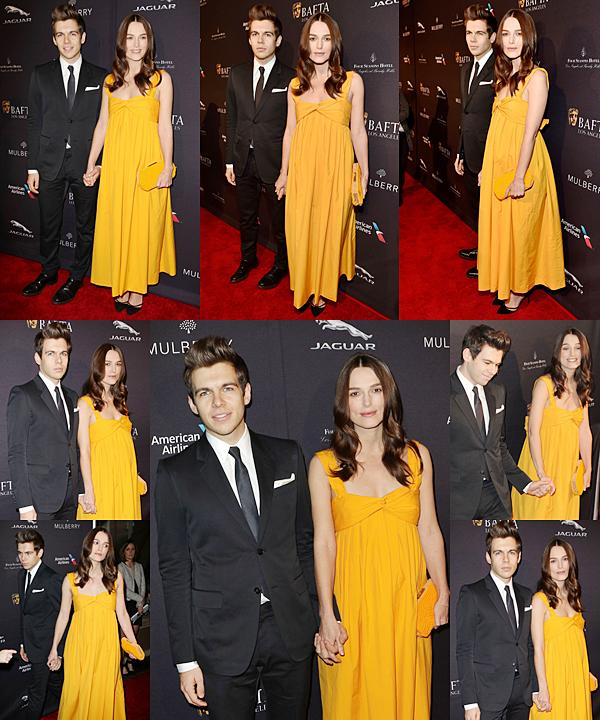 10 Janvier 2015 :  Keira s'est rendue avec son mari, au BAFTA Tea Party à l'Hôtel Four Seasons en Californie. Elle portait une robe signée Hermès. On l'a vu en compagnie de d'Eddie Redmayne et Cara Delavingne.