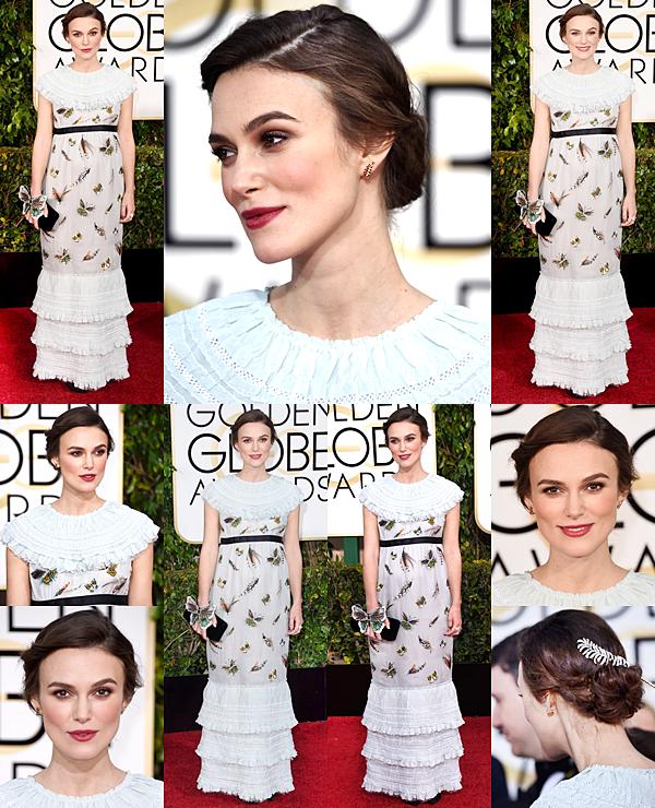 11 Janvier 2015:  Keira était présente aux Golden Globes Award. Elle portait une robe Chanel. Elle n'a malheureusement pas gagné ce soir là, le prix a été attribué à Patricia Arquette pour le film Boyhood