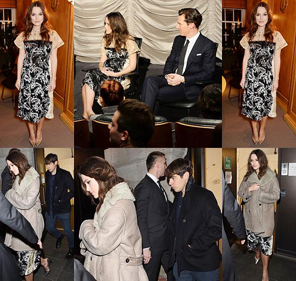 5 Février 2015:  Keira s'est rendue à une réception privée pour le film The Imitation Game à Londres.