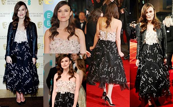 8 Février 2015:  Keira a participé au British Academy of Film and Television Arts (BAFTA). Elle portait une robe signée Gambiattista Valli. Elle n'a malheureusement pas gagnée le prix du meilleur second rôle féminin. Ce dernier a été une fois de plus attribué à Patricia Arquette.