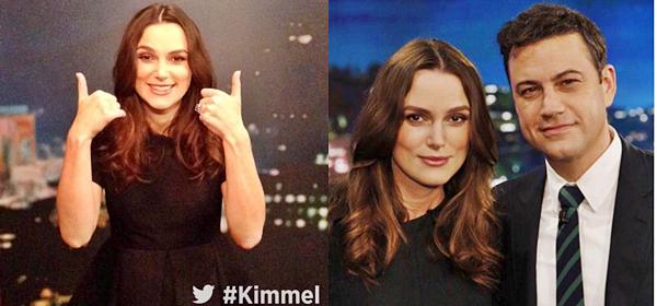 12 Février 2015:  Keira était présente au Jimmy Kimmel Show comme prévu.