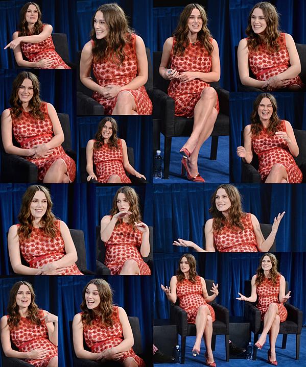 16 Février 2015:  Keira était présente à la conférence de presse the Times Talks and TIFF. Elle était accompagnée par son partenaire Benedict. Keira portait une robe à fleurs rouge signée Alexander Lewis. Si vous souhaitez voir la conférence de presse en intégralié c'est ici : [VIDEO]