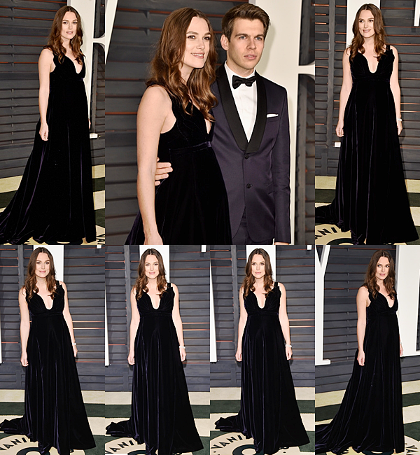 22 Février 2015:  Keira est ensuite allée à l'after party des Oscars organisé par Vanity Fair. Elle porte une robe Valentino !