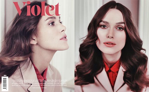 27 Mars 2015 :  Keira fait la couverture du magazine Violet. D'après l'instragram du magazine elle porte des vêtements Miu Miu. Trois photos pour ce magazine sont disponibles plus bas !
