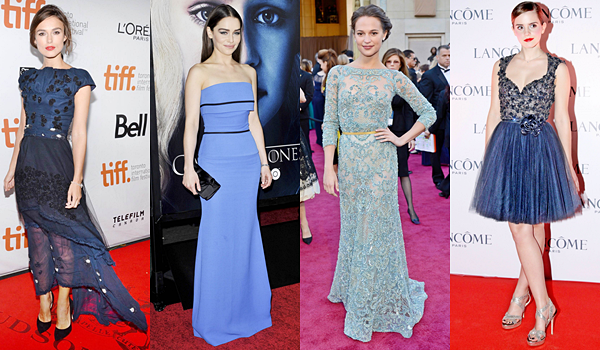Sondage :  Parmi ces quatre jeunes actrices, qui portent le mieux la couleur bleue, blanche, rouge, noire, verte et rose ? Votez pour votre tenue préférée ! Vos votes seront comptabilisés à la fin de l'article. Il s'agit d'un projet réalisé en collaboration avec AliciaVikander, EmiliaClarkeDaily et Watson-Emma.