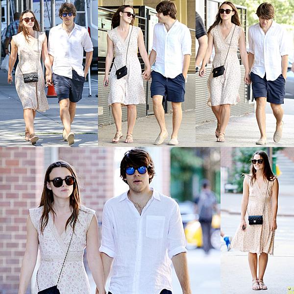 28 Août 2015 :  Hier, Keira a été vu avec son mari dans les rues de New York. Elle a posé quelques minutes pour les paparazzis.