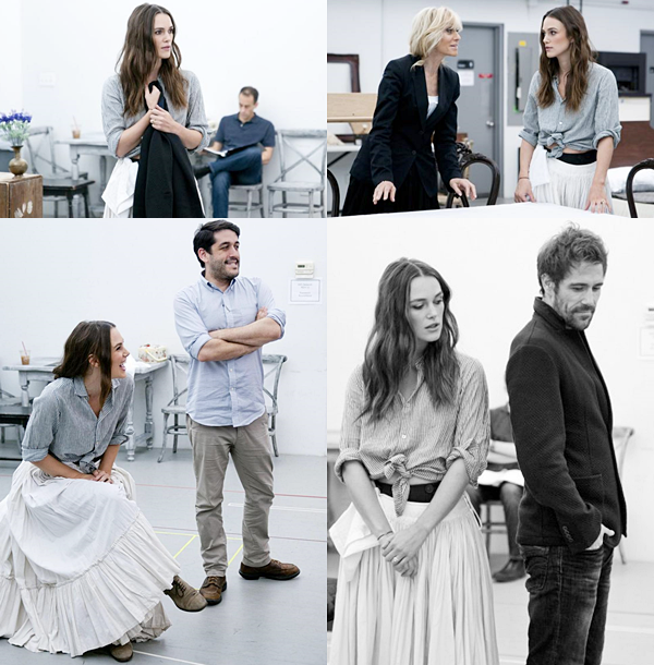 20 Septembre 2015 :  Trois photos ont été prises lors des répétitions de la pièce de théâtre : Thérèse Raquin. Keira y incarne une épouse infidèle.
