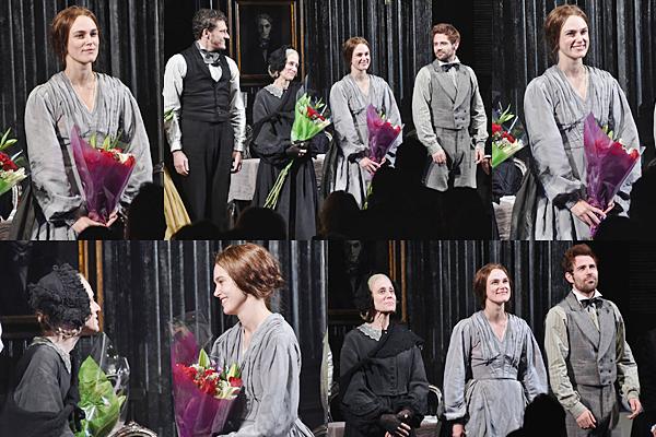 29 Octobre 2015 :  Keira  était présente à l'avant première de sa pièce Thérèse Raquin. Elle portait une robe signée Gucci !