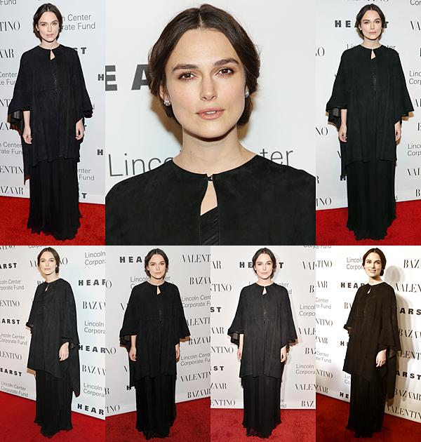 7 Décembre 2015 :  Keira était présente à la soirée organisée par la marque Valentino. Elle portait évidemment une robe de la marque noire. Elle a fait un discours durant l'événement.