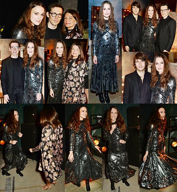 22 Février 2016 :  Hier, Keira était présente à la soirée organisée par Erdem dans le cadre de la Fashion Week à Londres. Elle portait pour l'occasion une robe de la marque.
