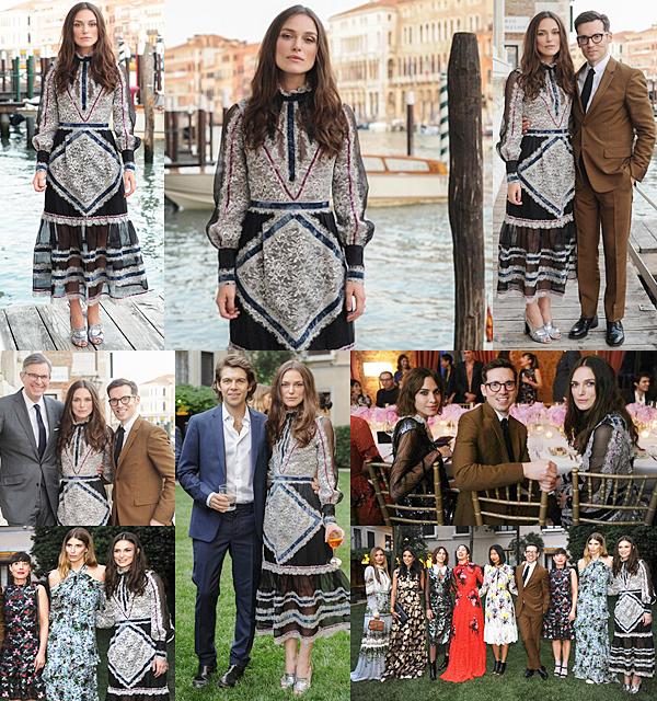 24 Mai 2016 :  Mardi, Keira  a participé à la soirée MYTxErdem organisée par la marque Erdem à Venise. Elle portait évidemment une robe de la marque.
