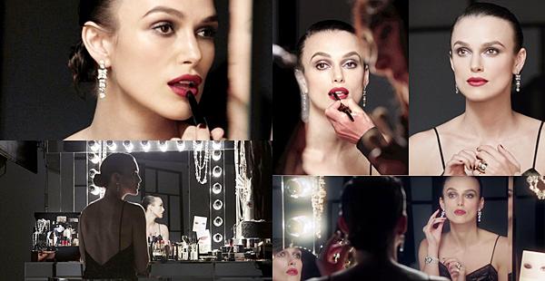Chanel :  Keira a tourné une vidéo pour le maquillage Chanel. Elle a pour but de donner des astuces pour se maquiller.