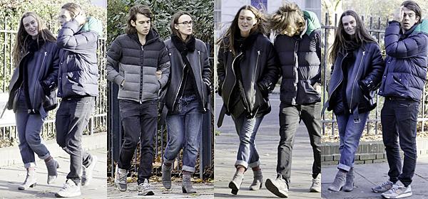 22 Novembre 2016 :  Keira et James ont été vus à deux reprises se baladant dans les rues de Londres.