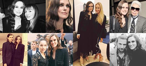 Le 3 Mai 2017 • Keira était présente au défilé de Chanel pour la présentation de la nouvelle collection à Paris. Elle était vêtue d'une robe et d'une veste noire de la marque. Sachez également, qu'elle a tourné, la semaine dernière, une nouvelle publicité pour le parfum Coco Mademoiselle dans la capitale française ! Quelques jours avant le défilé, Keira et sa petite famille, étaient à DisneyLand Paris !