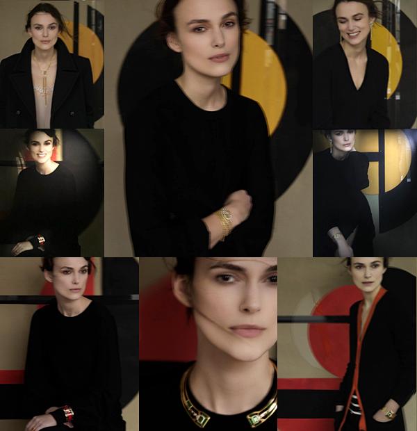 Chanel :  Chanel a consacré une des salles de son musée à la promotion de sa nouvelle collection de bijoux. C'est avec grand plaisir que nous apprenons que Keira a été de nouveau choisie. Plusieurs portraits ont été réalisés pour l'occasion par la photographe Sarah Moon. Vous pouvez retrouver une vidéo de l'intégralité des portraits exposés sur ce lien.