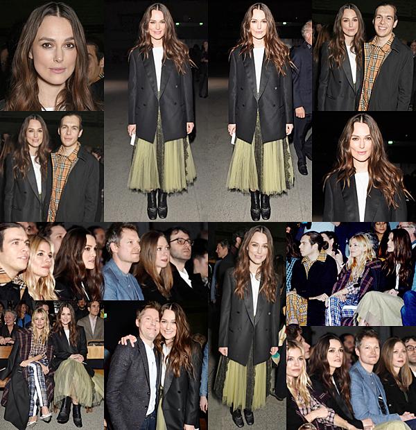 Le 17 Février 2018 Keira a assisté, avec son mari, au défilé de Burberry dans le cadre de la Fashion Week à Londres. Elle a été vue avec des ex partenaires de film comme Sienna Miller (The Edge of Love) et  Simon Woods (Orgueil et Préjugés). Pour l'occasion, Keira portait une jupe de la marque.