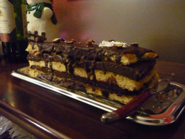 Bûche façon Mille Feuille Chocolat Noisette