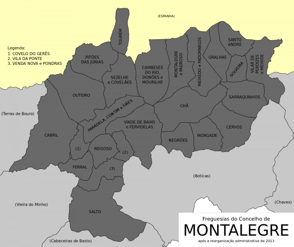 Mapa do concelho de Montalegre e do Barroso