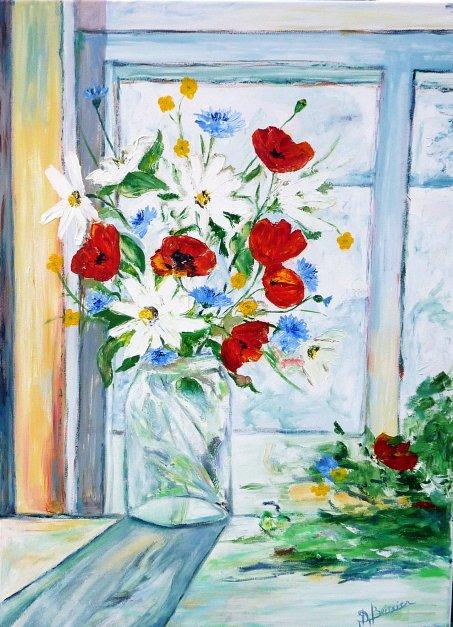 bouquet champêtre à la fenêtre