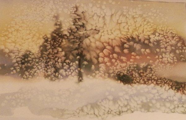 paysage d'hiver aquarelle