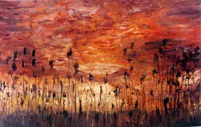 coucher de soleil sur les blés