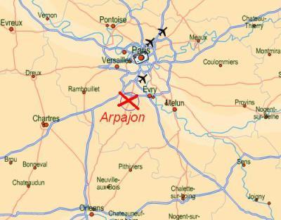 Situation géographique du club d'Arpajon