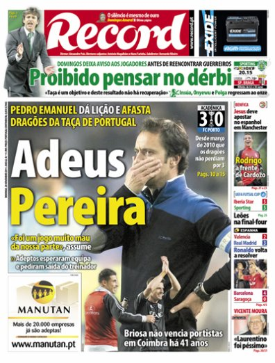 4ème tour Coupe du Portugal : Académica 3-0 FC Porto