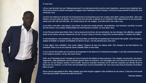 L'émouvante déclaration de Moussa Sissoko