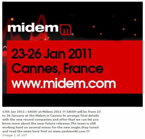 SASH! à Cannes du 23 au 26 Janvier 2011