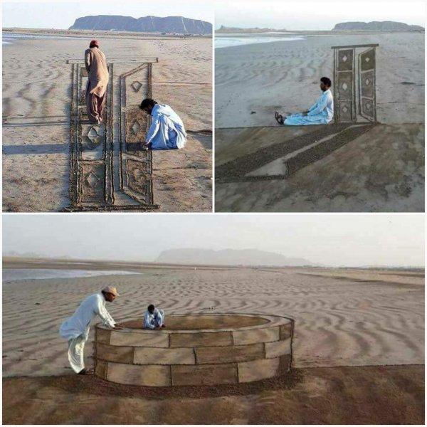 Dessin sur sable en 3D
