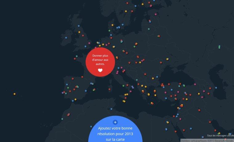 une carte du monde des bonnes résolutions pour 2013 vu par Béa pour lorraineblog
