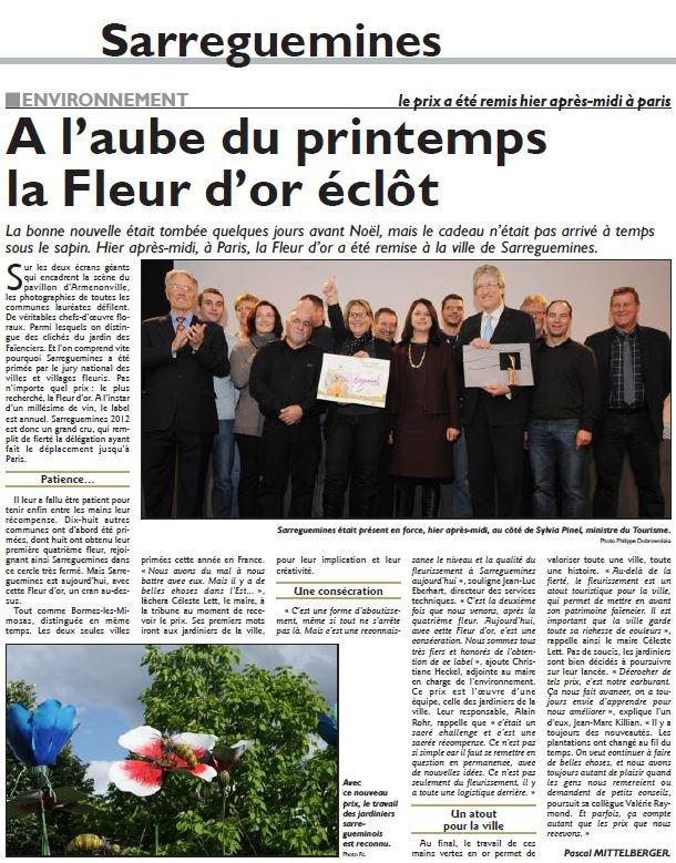 """""""Fleur d'or"""" pour Sarreguemines par Béa pour lorraineblog"""