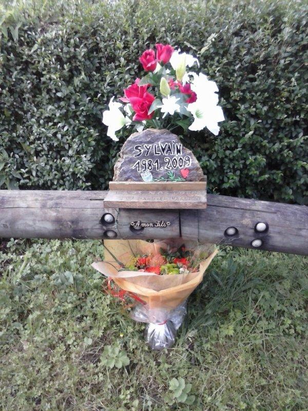 les fleurs sur le lieu de l'accident.