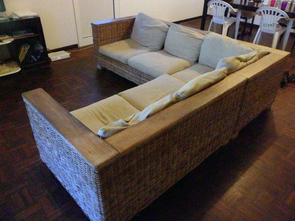 canap en rotin bois de manguier 500 a vendre sur cayenne t l fixe 27 44 84. Black Bedroom Furniture Sets. Home Design Ideas