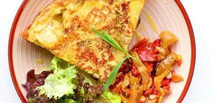 Tortilla aux mange-touts et tapenade