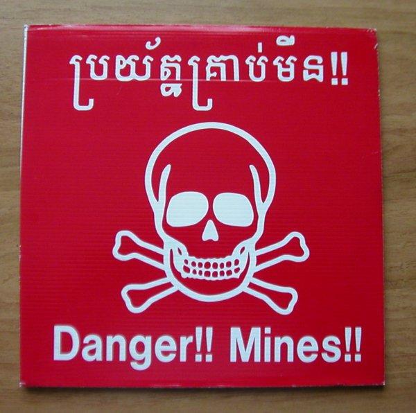 panneau mines cambodgien sur plastique