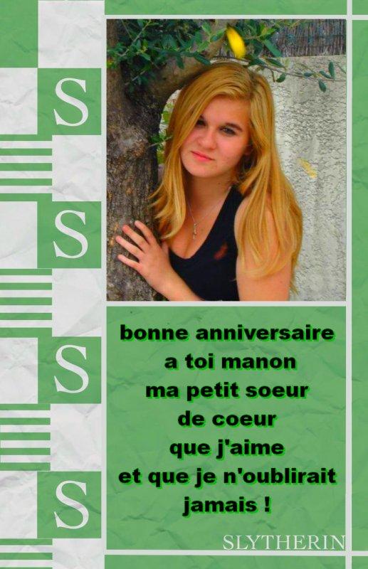 Joyeux anniversaire à Manou' une des gérantes du blog :)