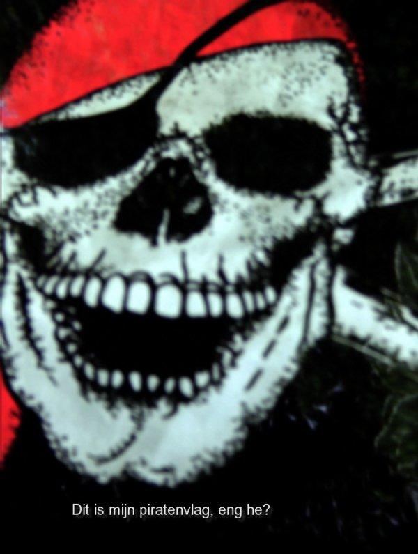 Dit is een piratenvlag die ik heb gevonnden op een onbewoond eiland