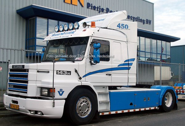 Scania T143H450 Trans Rivage, Lunteren, Nederland