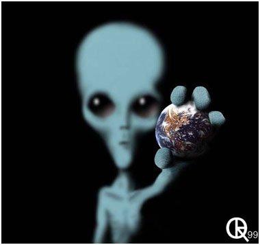 la terre entre les mains d'alien